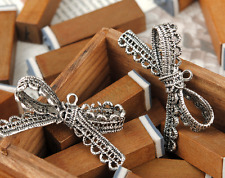 5/50pcs Tibetan Silver Beautiful Lace Bowknot Jewelry Charms Pendant DIY 43x23mm