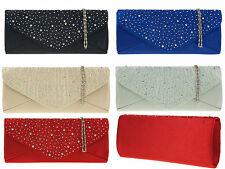 New Womens Ladies Diamante Party Clutch Bag/Hand Bag With Silver Chain UK