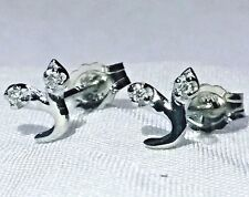 Le Suq 14kt Solid White Yellow Gold Tiny Diamond Stud Earrings Flower Cherry New