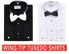 Men's Tuxedo Wing Tip Collar W/ Bow-tie Dress Shirt Black Or White By Berlioni
