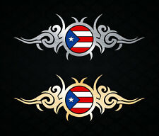 "Puerto Rico Vinyl Car Decal Sticker 8""(w) Puerto Rican Flag Metallic Gold Silver"