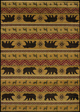 Nordic Spice Stripe Deer Bear Rustic Cabin Lodge Area Rug ~ 3 Sizes or Runner