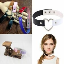 Favorite Rivet Funky Punk Goth Necklace Collar Choker Leather Heart