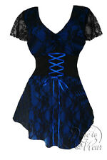 Gothic SWEETHEART Stretch Corset Style Top BLUEBERRY / BLACK Size 18/20 to 26/28