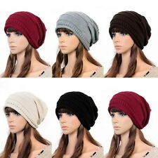 NEW Unisex Womens Mens Knit Baggy Beanie Hat Winter Warm Oversized Ski Cap SG