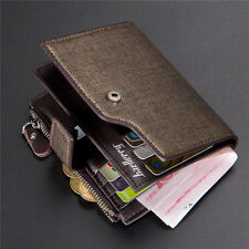 Fashion Mens Leather credit Card holder Clutch Trifold Wallet Coin Purse Pockets