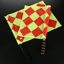 2pcs Football Referee Linesman Flags Fluorescent Color Soccer Games Judge Flag