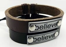 Mens Imitation Leather Cord Bracelet Adjustable Wax Cord Believe Wristband NEW