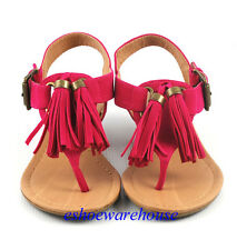 Fuchsia Pink Faux Suede Awesome Tassel T Strap Thong Low Wedge Sandals Shoes
