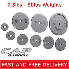 "CAP Barbell 1"" Olympic Grip Weights SINGLE 2.5lbs - 50lbs Pounds Cast Iron Plate"