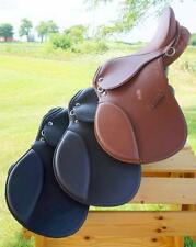 """12"""" BLACK TAN BROWN All Purpose Youth Kids English EVENT JUMP Leather Saddle NEW"""