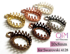 10pcs Oval Crown Bezel Cup 10x8mm Brass with 1loop Brass, Copper, Silver plated