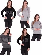 New Mens And Womens Unisex New York Chicago Jumper Slogan Sweater Ladies Top