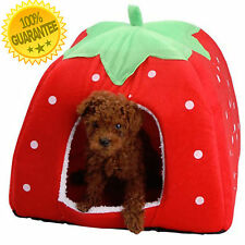 Soft Foldable Strawberry Pet Dog Cat Puppy Bed House Cushion Pad Crate Kennel