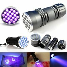 Portable UV Ultra Violet 9/ 21 LED Flashlight Blacklight Aluminum AAA Torch Lamp