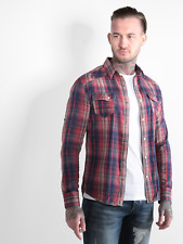 883 Police Mens Bronco Red Check Long Sleeve Casual Shirt With Chest Pocket