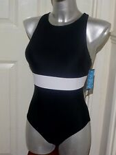 BNWT Ladies Black Tummy Control Swimming Costume Swimsuit Bust Support UK 14 16