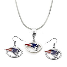 NFL New England Patriots Football Logo Pendant Necklace & Earring Set