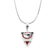 NFL New England Patriots Logo Pendant Necklace 925 Sterling Silver Snake Chain