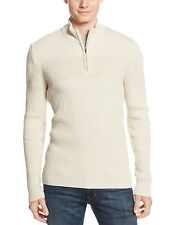 AMERICAN RAG Ribbed Quarter Zip Mock Neck Sweater Oatmeal Ivory $49