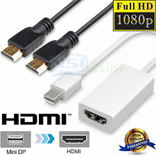 Thunderbolt Mini Display Port DP To HDMI Adapter + HDMI Cable for Apple MacBook