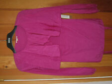 DKNY SILK MIX OVERSIZE COLLAR BELTED BLOUSE LAYERED HOT FUSCHIA PINK S NEW