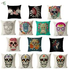 Colorful Human Skeleton Cushion Covers Cotton Linen Throw Pillow Case