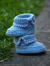 Handmade Knitted Crochet Blue Baby Boys Infant booties socks boots shoes,newborn