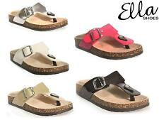 Ladies Faux Leather Sandals Wedge Heels Comfort Walking Summer Beach Shoes Size