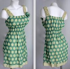 Yellow Polka Dot M L Empire Waist Pinup Dress Rockabilly Pin Up Sleeveless NWT