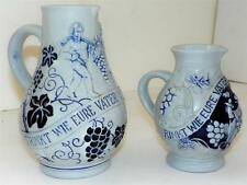 2 Wick Werke Stoneware Pitcher Germany Carafe Vintage 7/4 L, 0.5 L. FATHER'S DAY