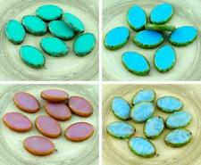 4pcs Picasso Large Flat Oval Window Table Cut Czech Glass Beads 20mm x 14mm