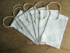 MUSLIN 100% COTTON INFUSIN BAGS FOODSAFE DRAWSTRING 2 SIZES PACK OF 5 HERB/SPICE