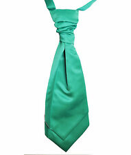Jade Green Wedding Scrunchie Satin Cravat Mens and Boys