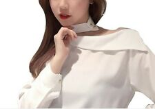 Off Shoulder Long Sleeve Fashion Women Blouse Korean Shirt Tops Spring Clothes