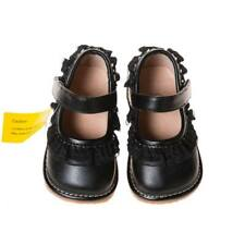 Girl's Black Leather Toddler Ruffle Squeaky Shoes Sizes 1 to 7 w/Free Stoppers