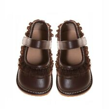 Girl's Brown Girl Ruffle Style Leather Squeaky Shoes
