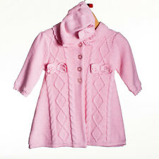 BABY GIRLS MATINEE COAT AND HAT PINK 3 MONTHS - 9 MONTHS NEW (190)