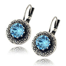 Nara Engraved Crystal Flower Earrings, Silver Plated Drop with Round Swarovski