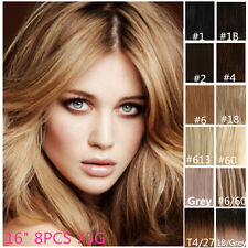"Premium Clip In Human Hair Extensions Remy 100% Real Human Hair 16"" 8PCS 75G"