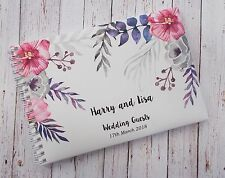 A5 Personalised Guest Book Watercolour Design in Window Box + Optional Sign