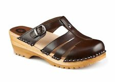 TROENTORP BASTAD SWEDISH WOODEN CLOGS - MARY JANE COLA BROWN - MADE IN SWEDEN