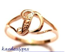 KAEDESIGNS, GENUINE, SOLID YELLOW OR ROSE OR WHITE GOLD 375 INITIAL RING D