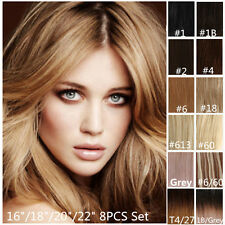 "16""/18""/20""/22"" Half Head Clip In Remy Human Hair Extensions Black Brown Blonde"
