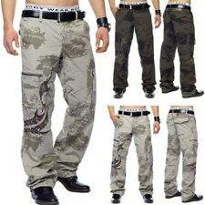 Cargo Trousers Army Loose Fit Workout Brown Beige Baggy Camouflage