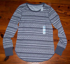 New! Women's OLD NAVY Gray White Stripe Long Sleeve U-Neck Thermal Casual Shirt