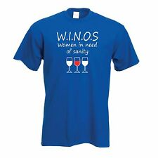 WINOS T-Shirt Women In Need Of Sanity Funny Drinking Novelty Wine Unisex T-Shirt