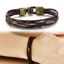 Multilayer Stainless Steel Punk Leather Braided Bracelet Bangle Wristband
