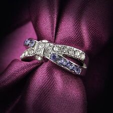 Criss Cross Crystal New Jewelry White Gold Filled Rings 6-10 Size Ring