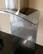 Silver Glitter and Mirror lines toughened Glass Splashback 600 x 750mm + custom